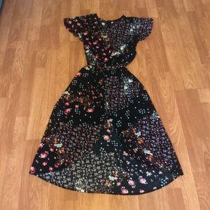 Black Floral Romper Dress Size 14/16 Nwot W Xs 💕